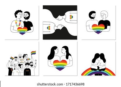 Pride parade. A collection of posters with people of gay, lesbian, bisexual, transgender. LGBT community. LGBTQ. Doodle vector illustrations