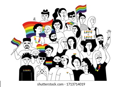 Pride parade. A group of people participating in a Pride parade. LGBT community. LGBTQ. Doodle vector illustration