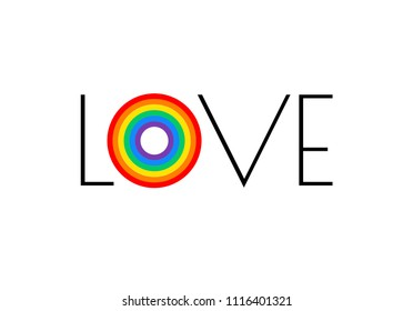 Pride rainbow flag love parade concept - love typography with pride rainbow - vector illustration for pride month event celebration lesbian, gay, bisexual, transgender, intersex culture