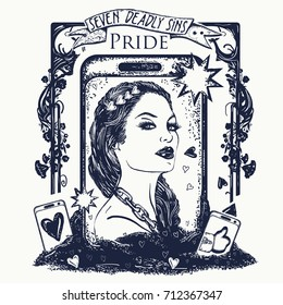 Pride. Seven deadly sins tattoo and t-shirt design. Vain fashion woman, internet dependence. Symbol arrogance, selfie, vanity. Vainglorious girl collects likes on social networks