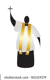 Priest, abstract silhouette of a traditional choral vestments cleric in a cassock or soutane, surplice and a stole, holding a cross. Color vector illustration.