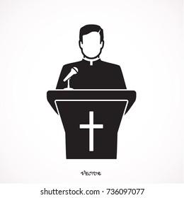 Priest giving speech from tribune. Catholic preacher person. Pastor servant of god in cassock. Vector illustration in flat style