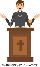 Priest giving speech from tribune.Catholic preacher character isolated on white background. Vector stock