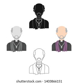 Priest icon in cartoon,black style isolated on white background. Funeral ceremony symbol stock vector illustration.