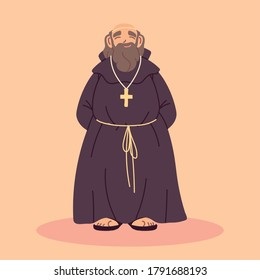 priest or monk wearing brown hooded gown vector illustration design