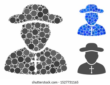 Priest mosaic of filled circles in various sizes and shades, based on priest icon. Vector filled circles are united into blue collage. Dotted priest icon in usual and blue versions.