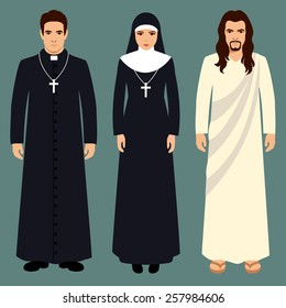 priest, nun and jesus christ, catholic religion illustration