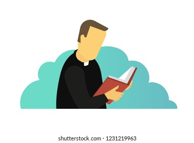 Priest reading Holy Bible book. Man is praying