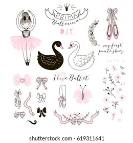 Prima Ballerina graphic elements set for D.I.Y.