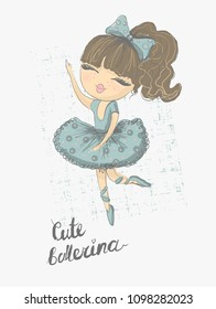 Prima ballerina. Surface design for kids . Vector graphic for children fashion clothing. Use for print, fashion wear