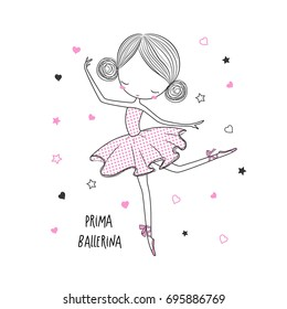 Prima ballerina. Surface design for kids . Vector graphic for kid's  fashion clothing. Use for print, fashion wear
