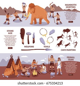 Primal tribe people horizontal banners set with hunting tools and family symbols flat isolated vector illustration