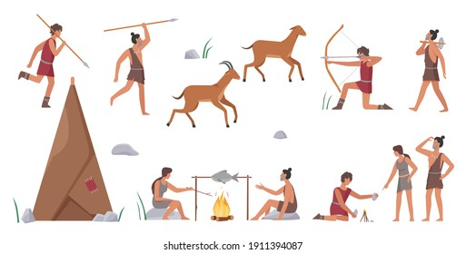 Primal tribe people hunt vector illustration set. Cartoon primitive tribesman characters group hunting animals with bows, arrows and spears, produce fire for cooking food near home isolated on white