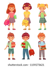 Primary school kids. Cartoon children pupils with backpack and books in uniforms. Happy cute boy and girl education pupil in schools uniform, study character vector isolated icon set