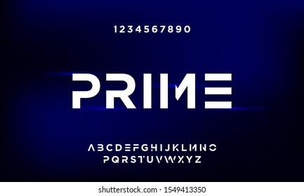 Prime Bold modern futuristic sans serif font vector design. eps10