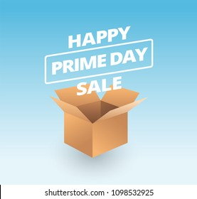 Prime day sale and opened paper box on blue background - vector illustration