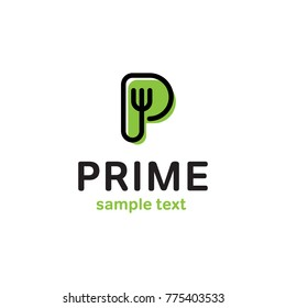 Prime logo design template. Vector alphabet letter P fork illustration background. Graphic food icon symbol for cafe, restaurant, cooking business. Modern green linear catering label, emblem, badge