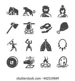 Primeval Ancient Prehistoric Caveman. Included the icons as mammoth, hunting, dinosaur, meat, survival, stone age and more.