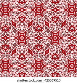 Primitive abstrRed floral pattern, Arabic, Indian, Islamic, Ottoman ornament, Ramadan Kareem motif isolated on white background.act Paisley pattern with lines and circles