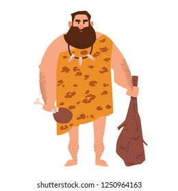 Primitive archaic man dressed in clothes made of animal skin and holding cudgel. Caveman from Stone Age. Male character isolated on white background. Colored vector illustration in flat cartoon style.