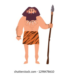 Primitive archaic man wearing loincloth made of animal skin and holding spear. Early human, caveman, warrior or hunter from Stone Age isolated on white background. Flat cartoon vector illustration.