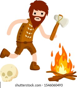 Primitive cave man. Neanderthal man run to hunt with stone axe. set of old items for survival. Stone hammer, skull, fire. Cartoon flat illustration. Clothing from skins