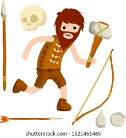 Primitive cave man. Neanderthal man runs to hunt with a gun. A set of old items for survival. Clothing from skins.  Stone axe and hammer, spear, arrow, skull, stick. Cartoon flat illustration