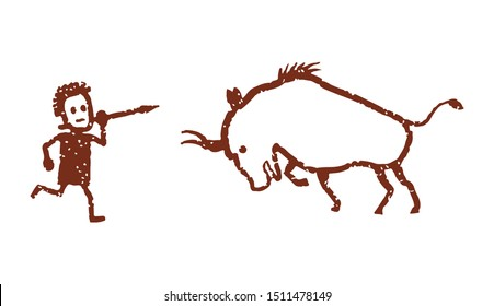 A primitive drawing depicting a man with a spear hunting a bison, buffalo. Isolated on a white background.