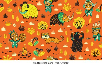 Primitive hunting vector illustration. Cavemans hunts a mammoth, a brown bear, a saber-toothed tiger and a woolly rhinoceros. Seamless pattern in cartoon style