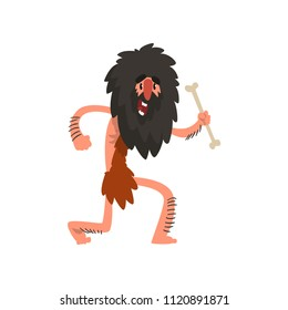 Primitive long haired caveman running with bone, stone age prehistoric man character cartoon vector Illustration on a white background