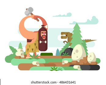 Primitive man with dinosaur