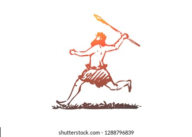 Primitive, man, spear, caveman, hunter concept. Hand drawn primitive man run with spear concept sketch. Isolated vector illustration.