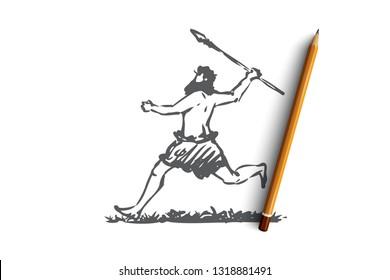 Primitive, man, spear, caveman, hunter concept. Hand drawn primitive man run with spear concept sketch. Isolated vector illustration.