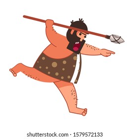 Primitive man with spear or caveman, hunter in animal skin isolated character vector. Barbarian or savage, guy with beard holding weapon. Prehistorical times or stone age, male neanderthal on hut