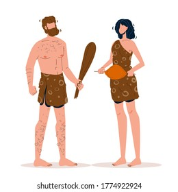 Primitive Man Talking With Woman Vector. Man Holding Wooden Truncheon Speaking With Girl Hold Fried Meat, Prehistoric Male And Female. Characters Cave People Flat Cartoon Illustration