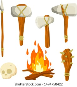 Primitive man's weapon. Stone axe on stick, hammer, club with spikes, skull, spear, fire. Cartoon flat illustration