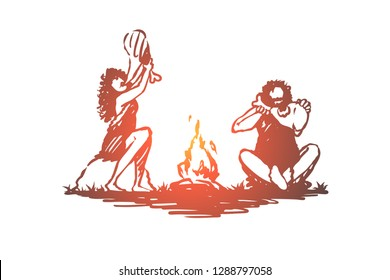 Primitive, people, bonfire, caveman, ancient concept. Hand drawn primitive people eating near bonfire concept sketch. Isolated vector illustration.