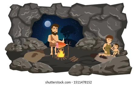 Primitive people in the cave. Vector stock illustration, flat design style. Isolated on a white background.