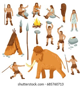 Primitive people flat cartoon icons set with cavemen in stone age weapon tool and ancient animals isolated vector illustration