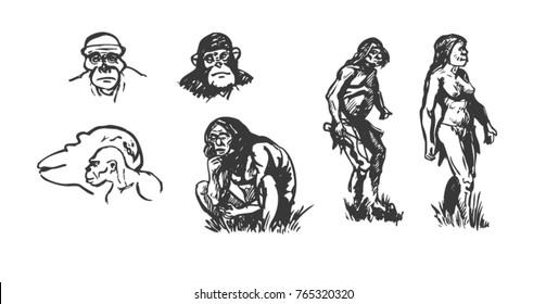 Primitive People Graphic Sketch Stock Vector Royalty Free