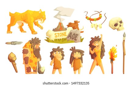 Primitive People and Stone Age Symbols Set, Prehistoric Family, Saber Toothed Tiger and Tools Vector Illustration