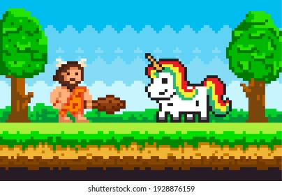 Primitive pixel man dressed in clothes made of animal skin and holding cudgel with unicorn. Caveman with baton meeting with pixelated pony. Character in forest nature landscape. Color pixel game scene
