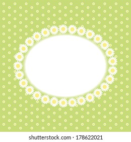 Primitive retro frame with daisies on polka dot background