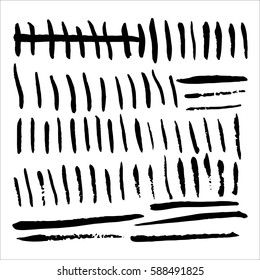 Primitive tally marks hand drawn. Stock vector illustration for day count, numeral system isolated on white background.