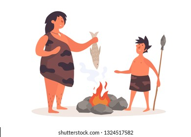 A primitive woman, dressed in pelt, holds a fish and talks to her child. The life of Neanderthals and cavemen. Vector flat illustration on white isolated background.