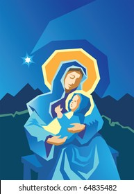 Primitive woodcut style illustration of Virgin Mary and Baby Jesus with star of Bethlehem in the background.