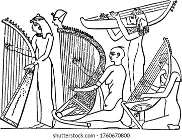 Primitive-looking instrument was played horizontally, being born upon the performer's shoulder. Between them and the grand vertical harps in the frescos of the time of Rameses II, vintage line drawing