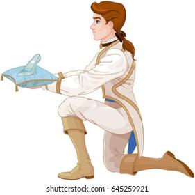 Prince presents a glass slipper