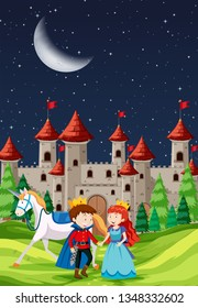 Prince and Princess with a castle illustration