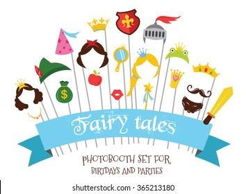 Prince and Princess Party set - photobooth props with mustaches, wigs and objects . vector illustration